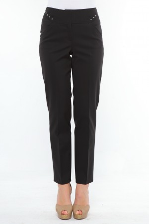 Pantalon conic cu betelie, tighele si riveti